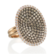 Pave oval disc ring