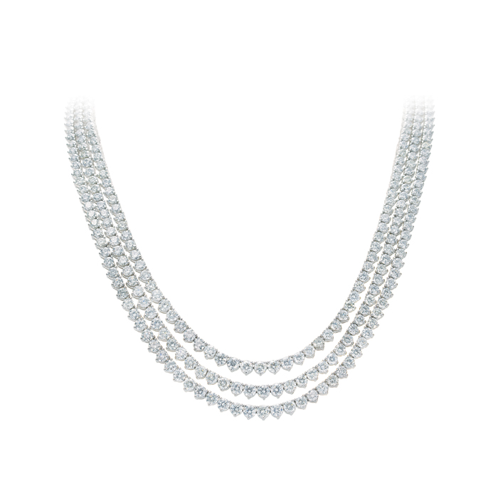 Three Ring Diamond Necklace